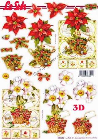 Christmas Poinsettia Flowers Die Cut 3d Decoupage Sheet